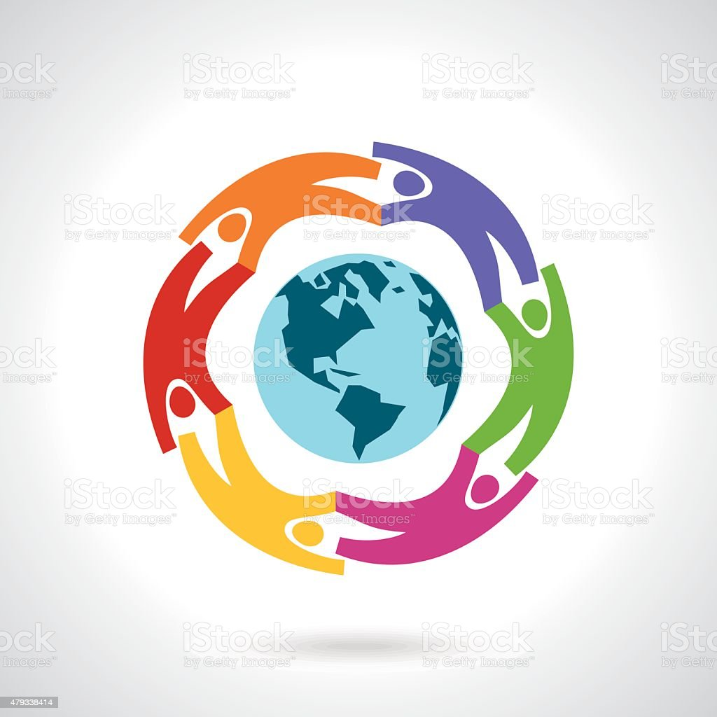 Earth Globe with people teamwork concept vector art illustration