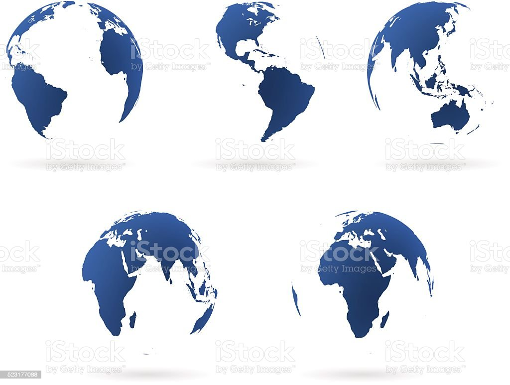 Earth globes set vector art illustration