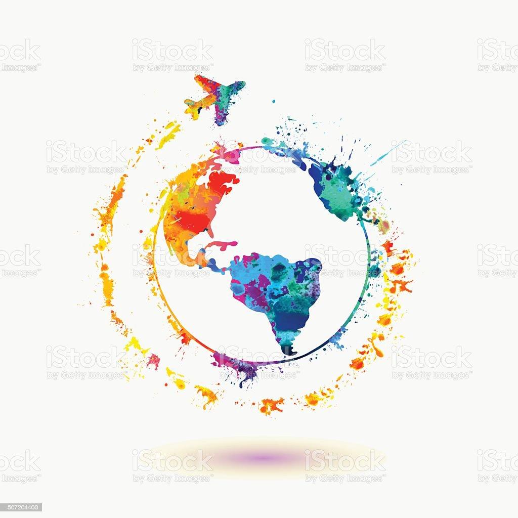 Earth icon. Around the World travel vector art illustration
