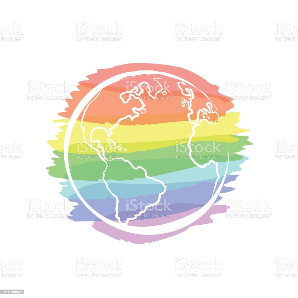 Earth icon hand-drawn on colors of the rainbow background. vector art illustration