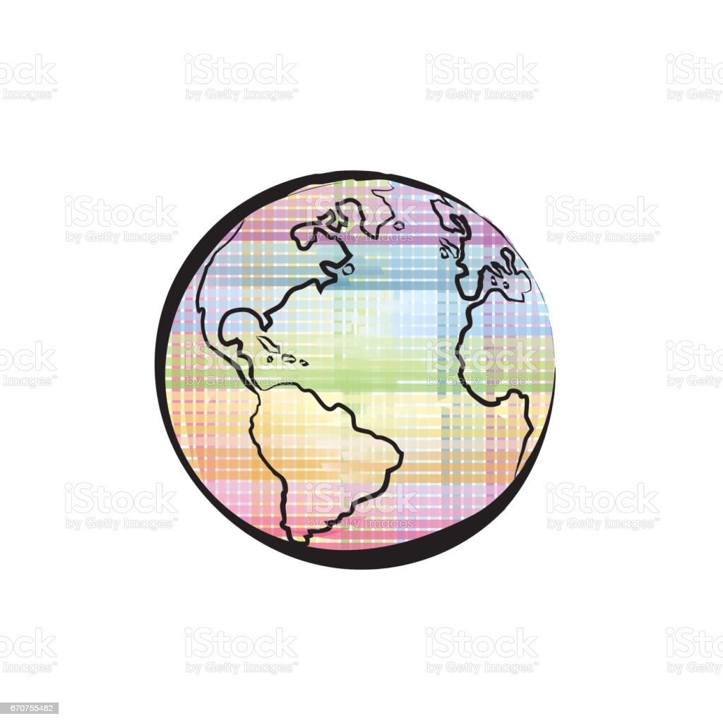 Earth icon on colors of the rainbow background, Spectrum pattern. vector art illustration