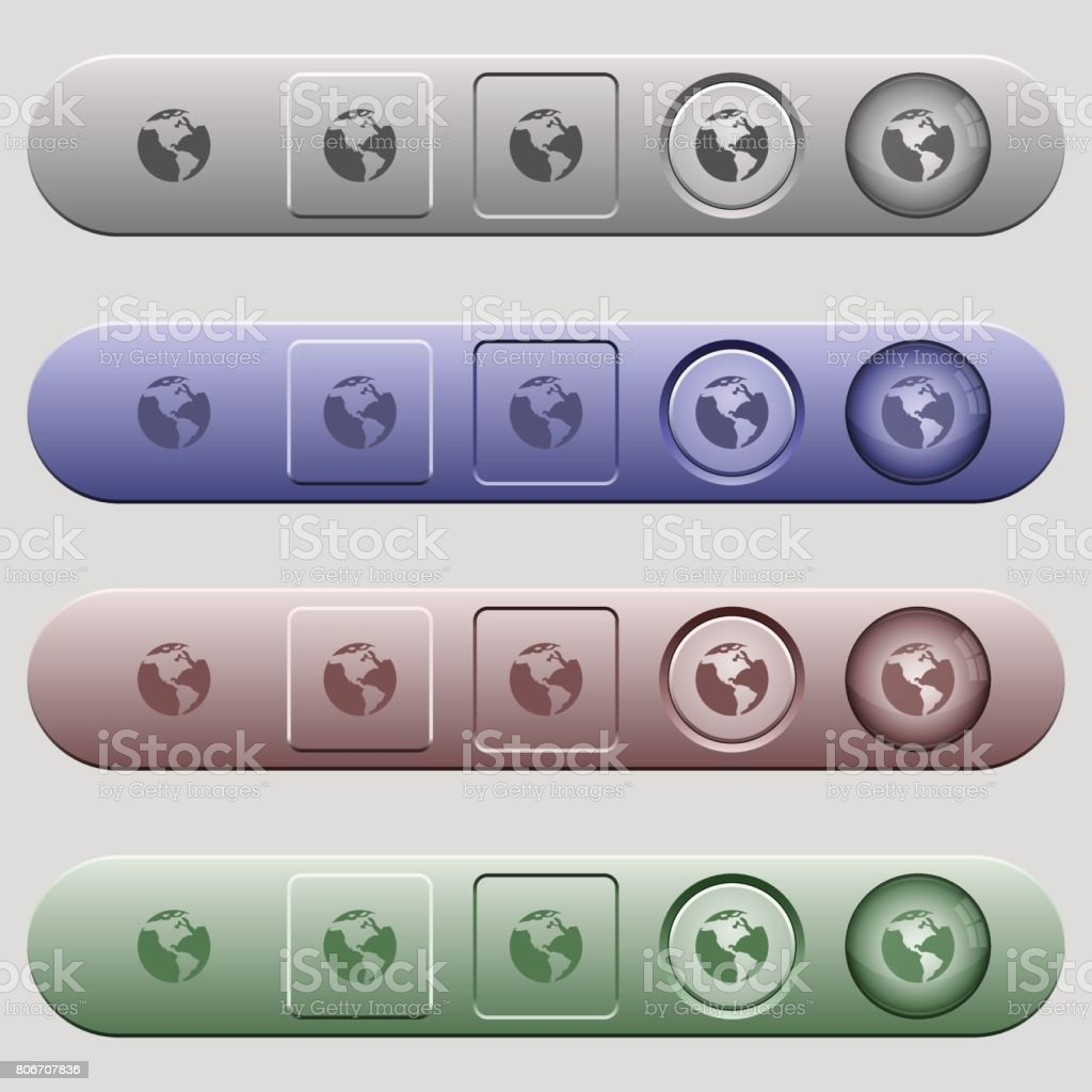 Earth icons on horizontal menu bars vector art illustration