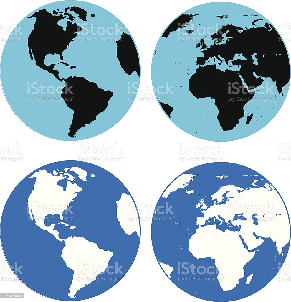 Earth in blue black and white vector art illustration