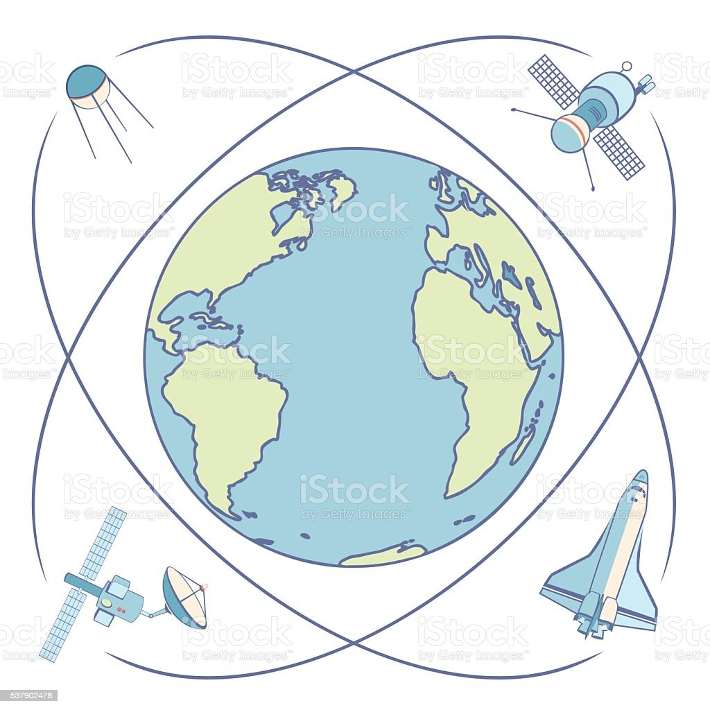 Earth in space. Satellites and spacecrafts orbiting Earth. vector art illustration