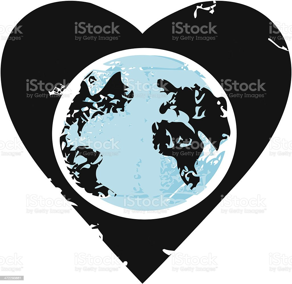 Earth Inside Heart royalty-free stock vector art