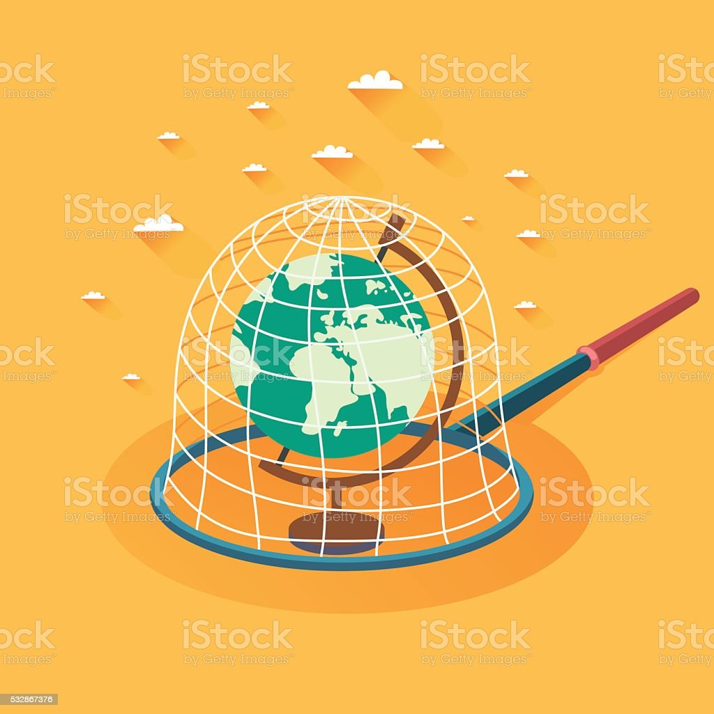 Earth is caught by butterfly net. Globe in a trap vector art illustration