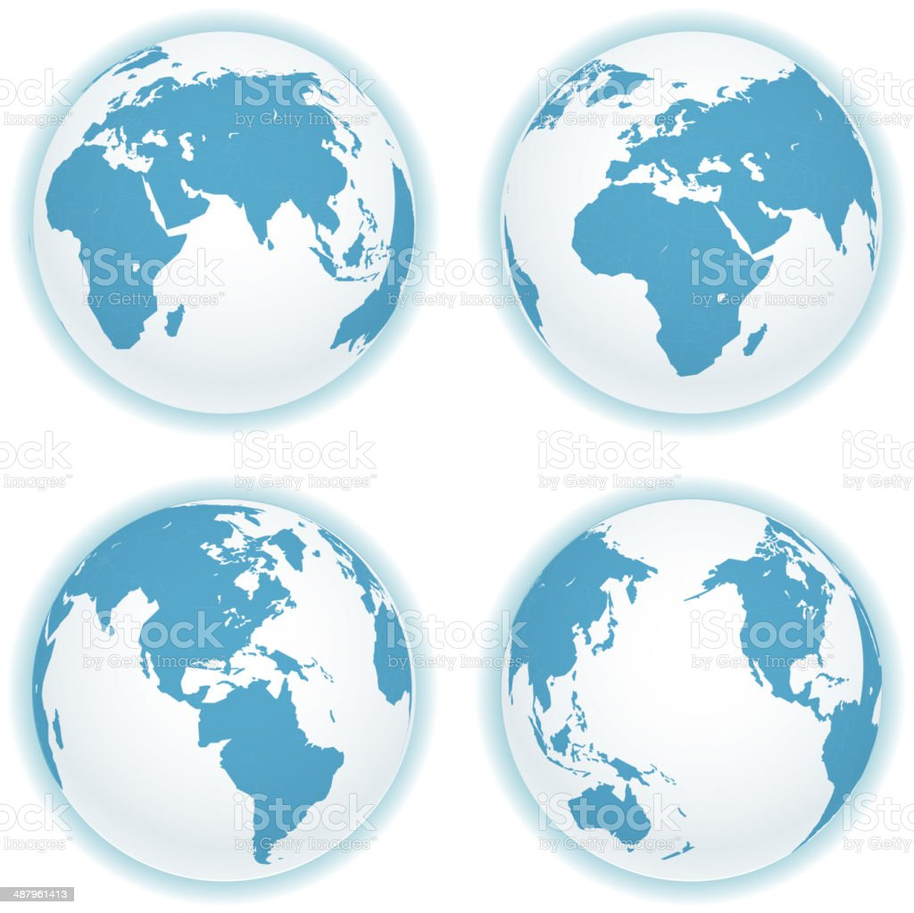 Earth map scheme isolated on white vector art illustration