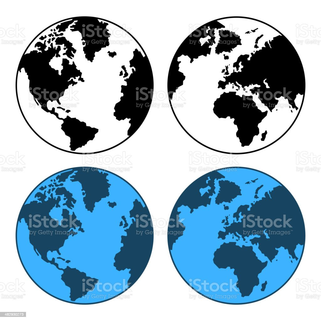 Earth Map Set Isolated on White. Vector royalty-free stock vector art