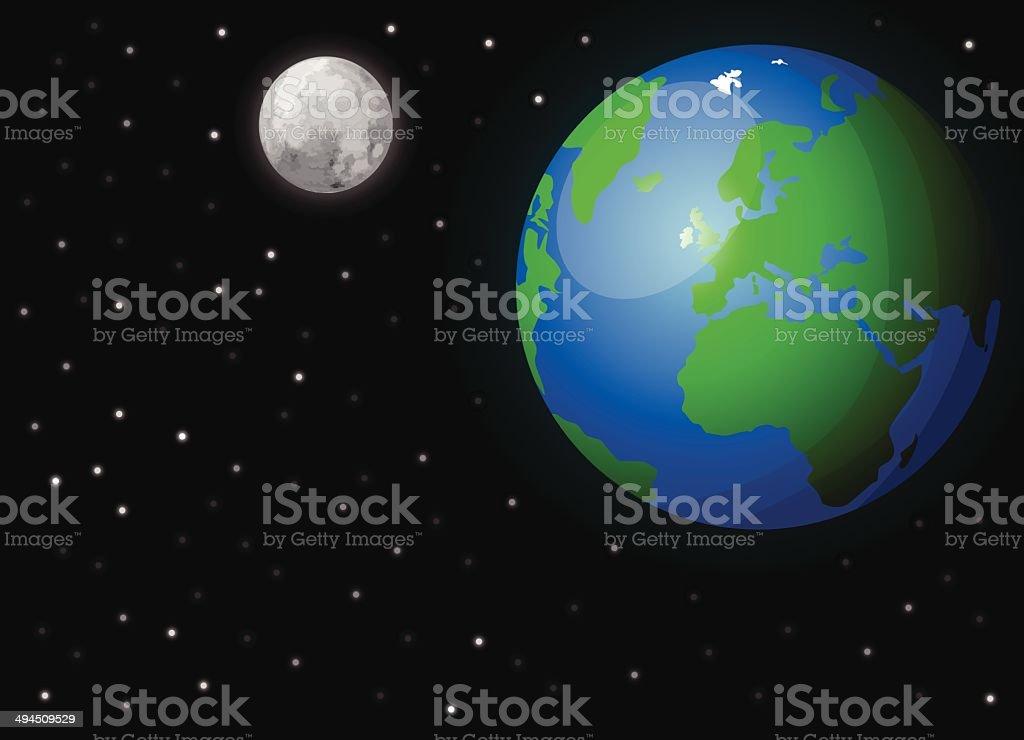 Terre dans l'espace stock vecteur libres de droits libre de droits
