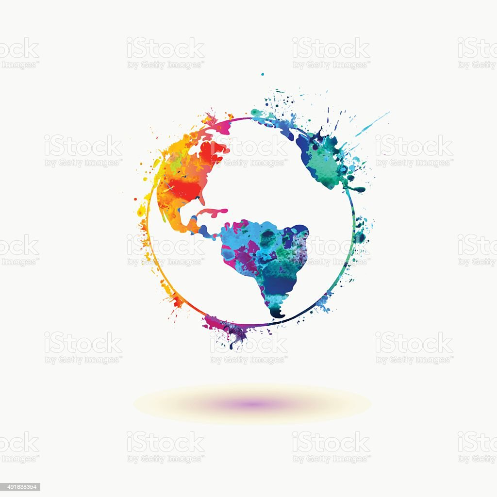 Earth planet colorful icon. vector art illustration