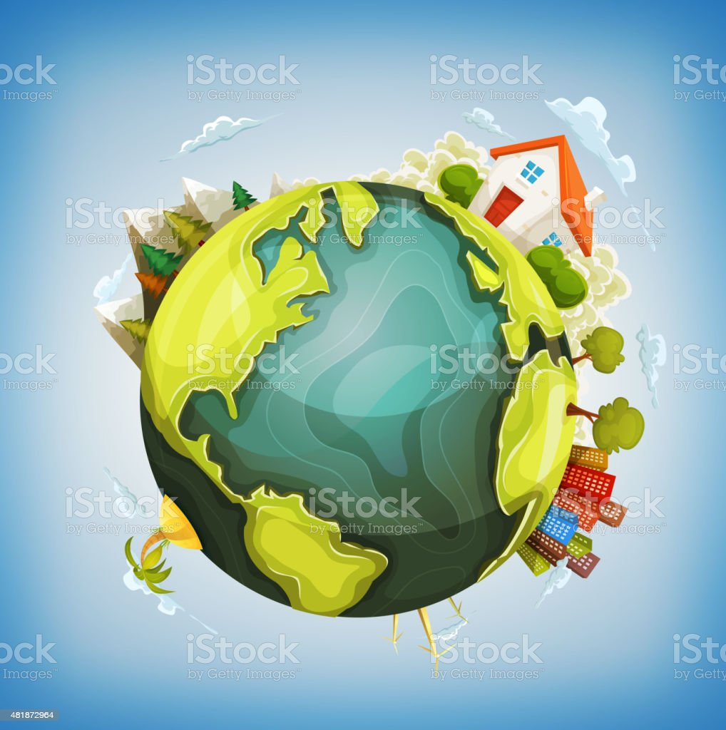 Earth Planet With Home, Nature And City Around vector art illustration
