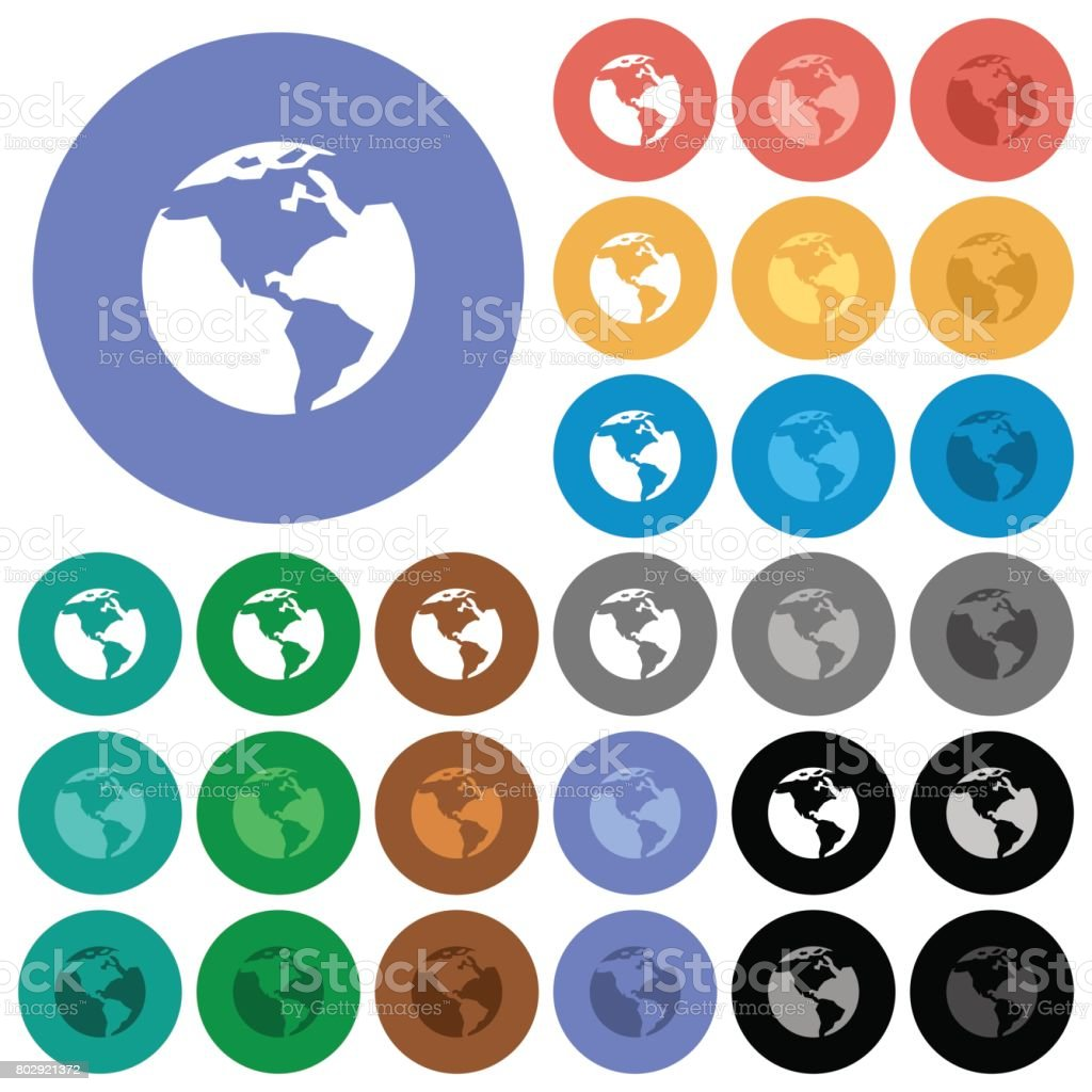 Earth round flat multi colored icons vector art illustration