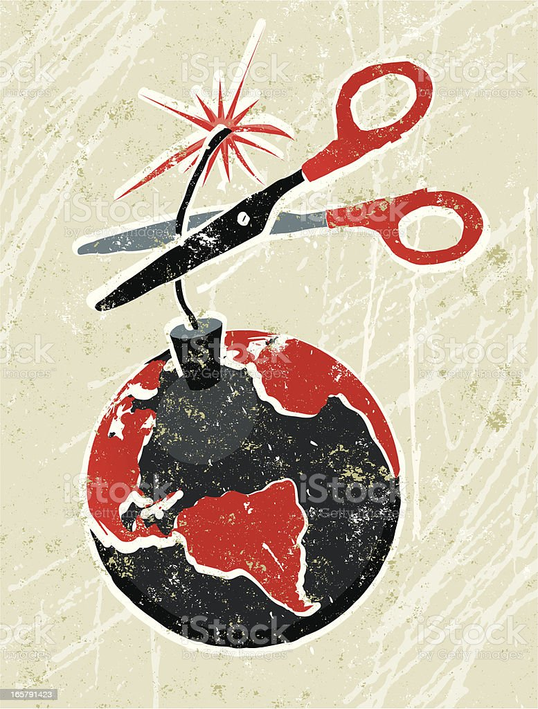 Earth Time Bomb with Scissors vector art illustration