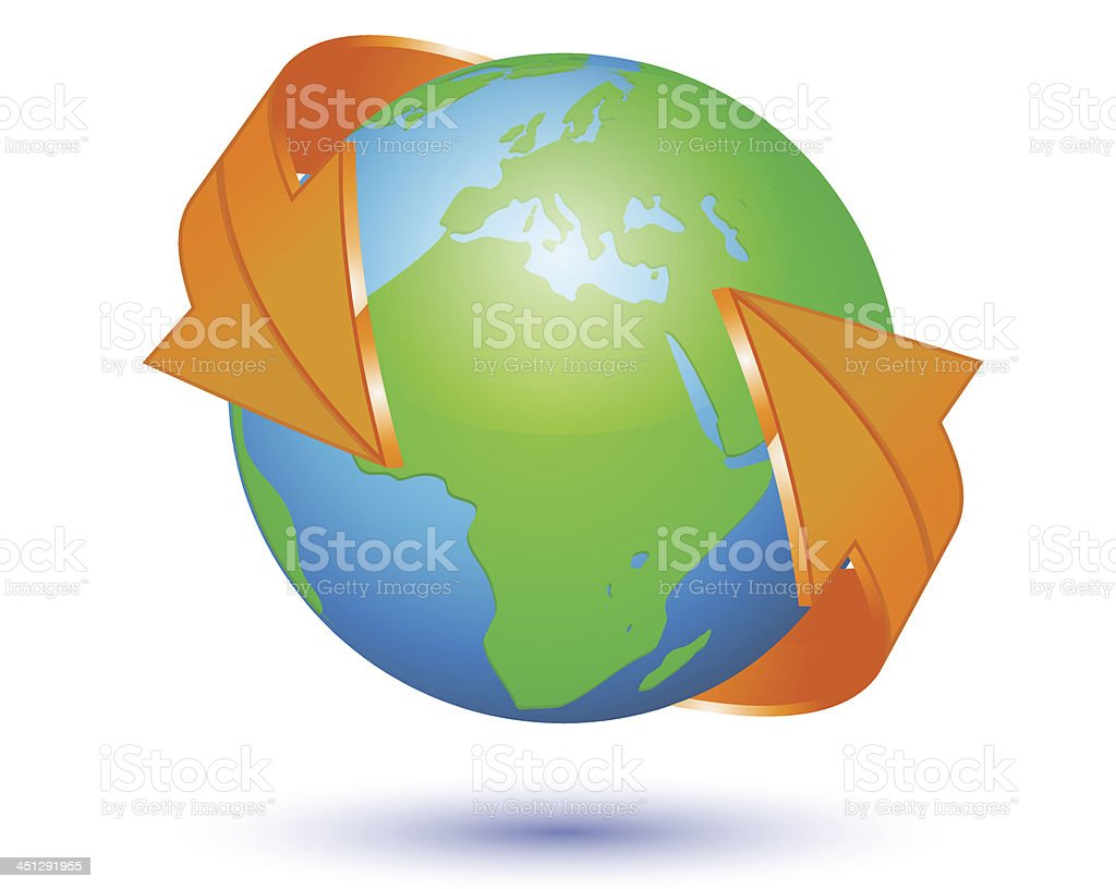 Earth with arrow circle royalty-free stock vector art