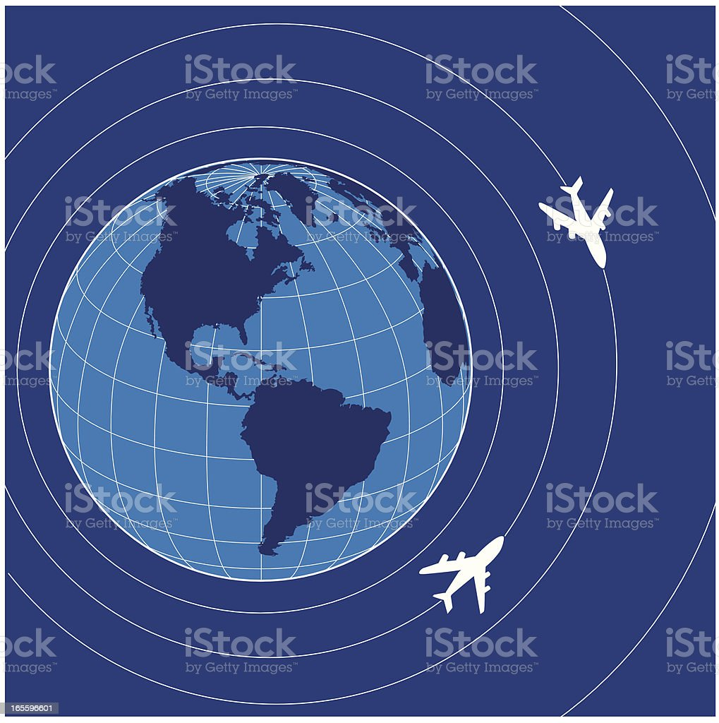 earth with circling airplanes royalty-free stock vector art