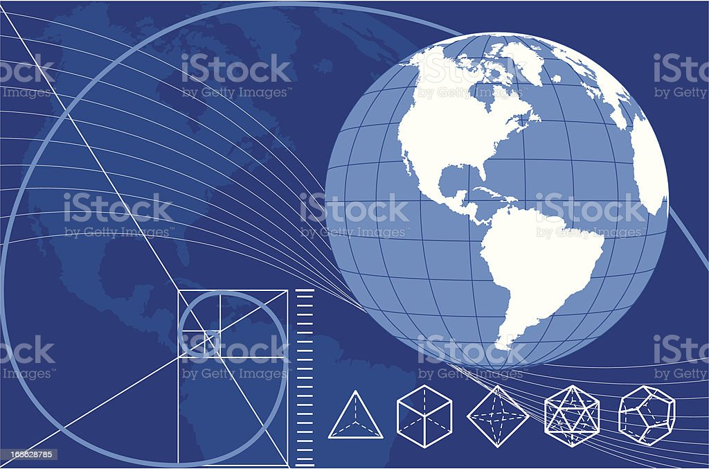 Earth with Platonic Solids and the Golden Mean vector art illustration
