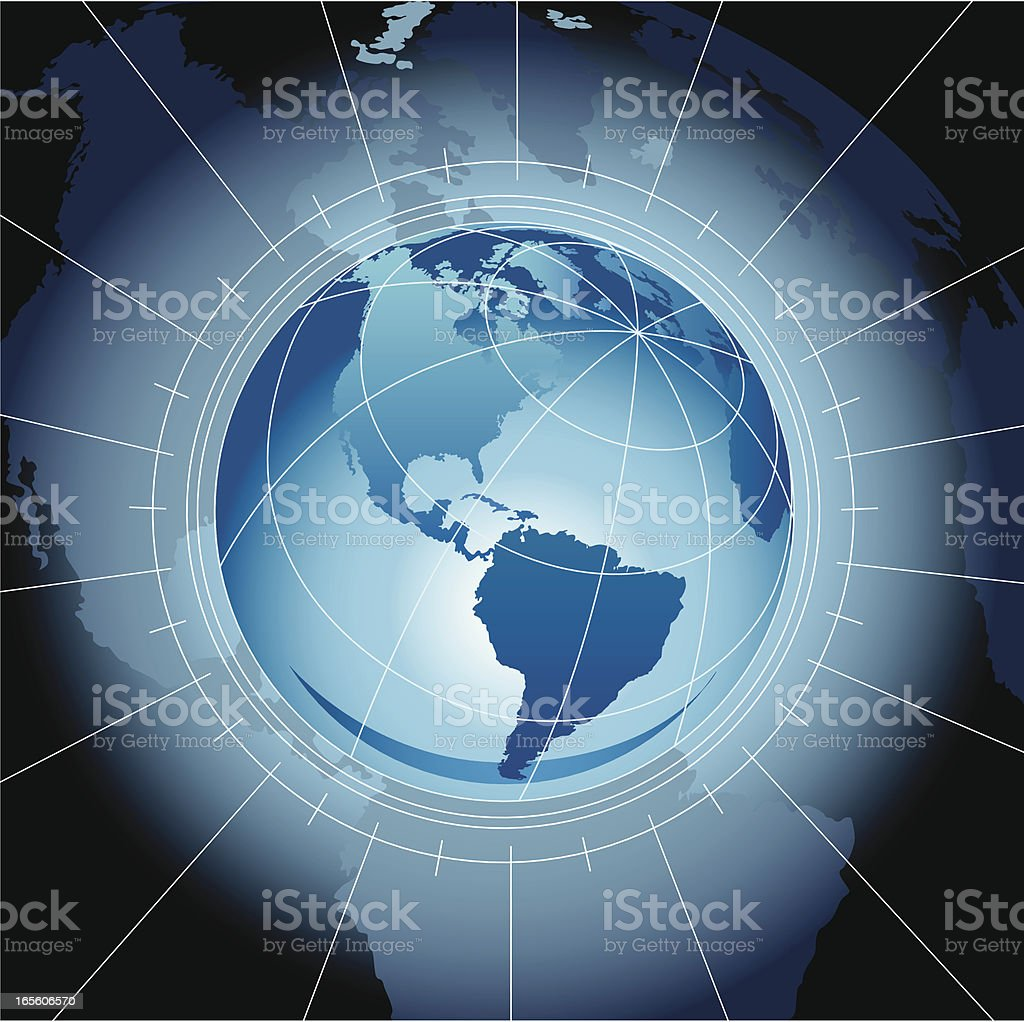 Earth with radial lines on a dark background vector art illustration