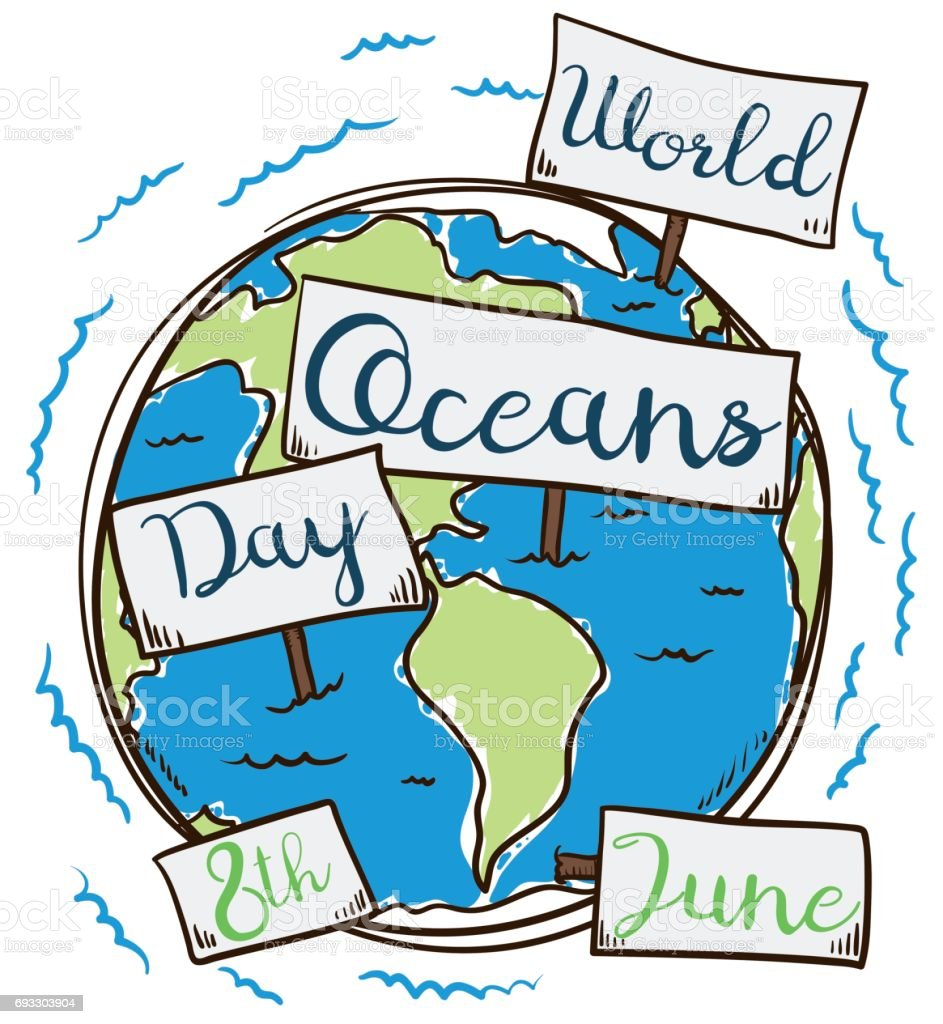 Earth with Signs in Hand Drawn Style for Oceans Day vector art illustration