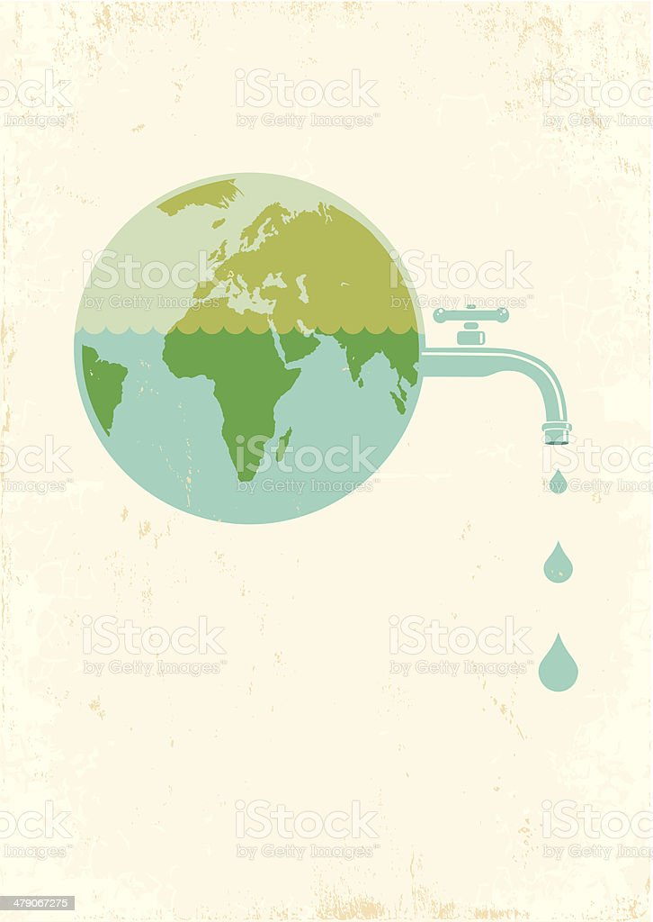 Earth with water tap vector art illustration