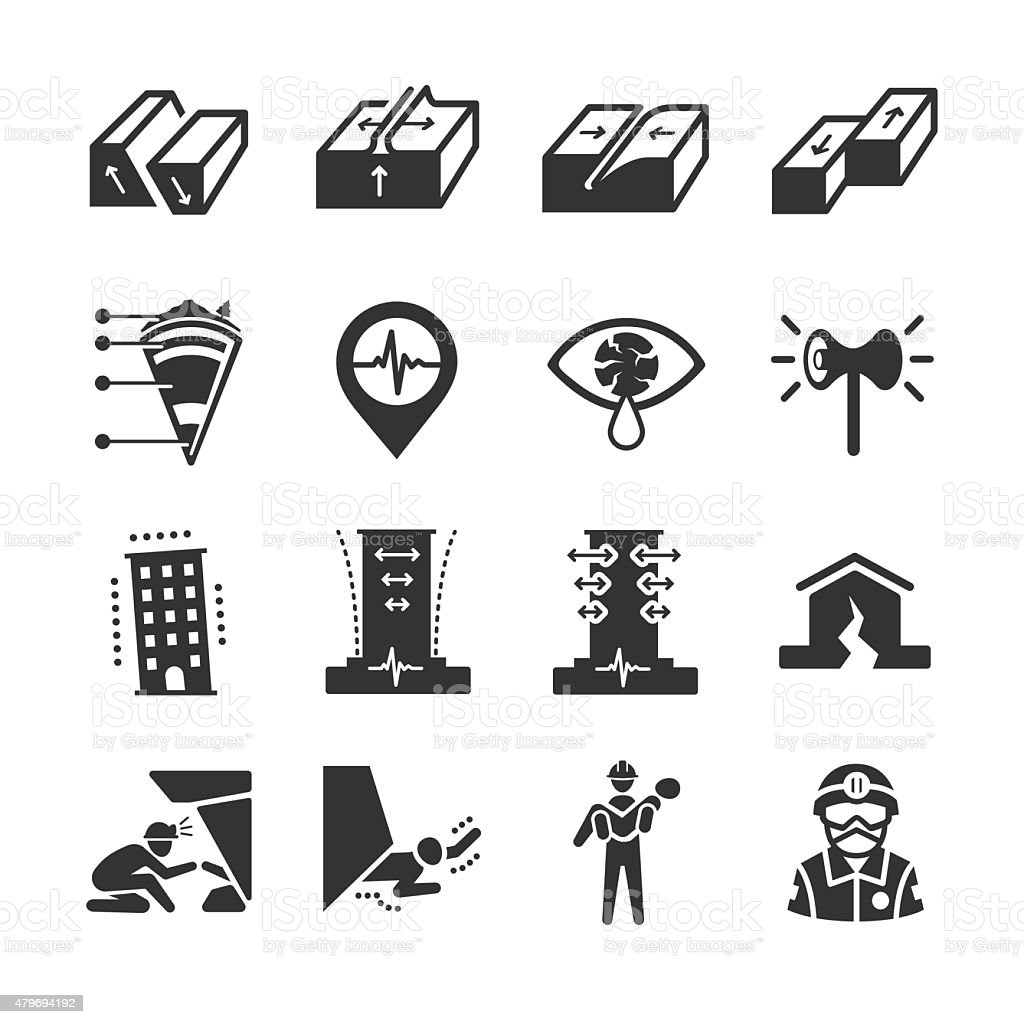 Earthquake and geology icons vector art illustration