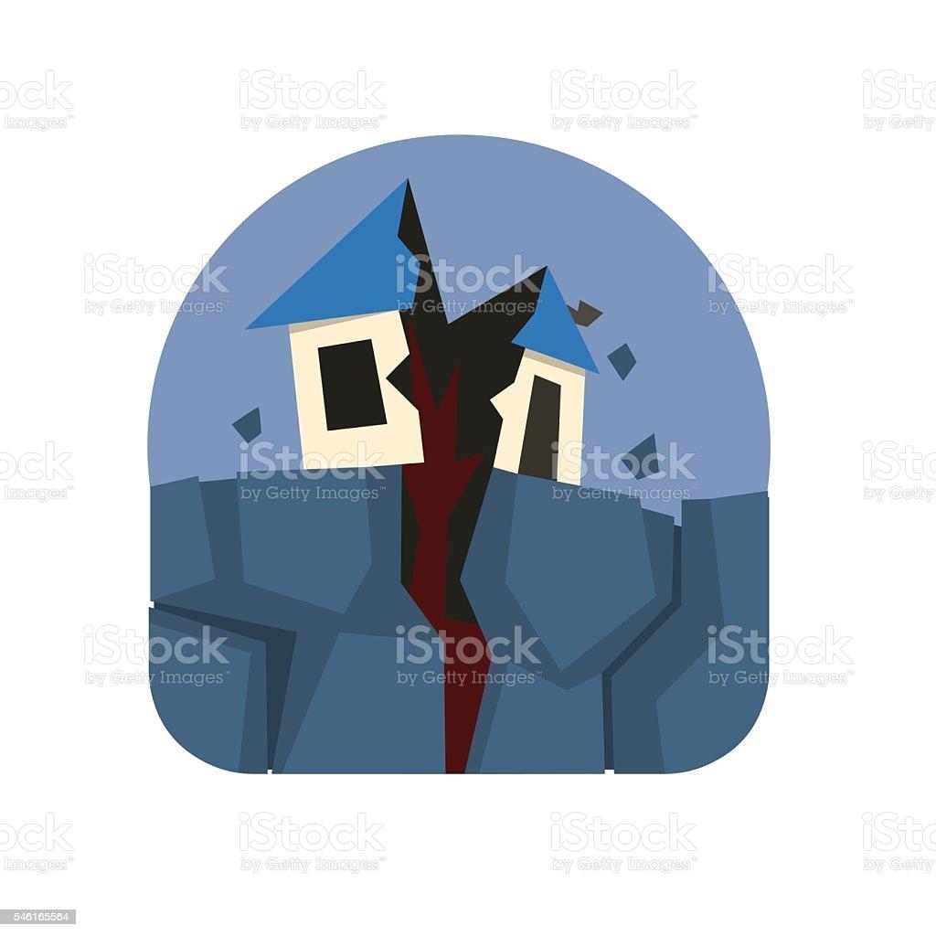 Earthquake Crack Destroying A House Natural Force Sticker vector art illustration