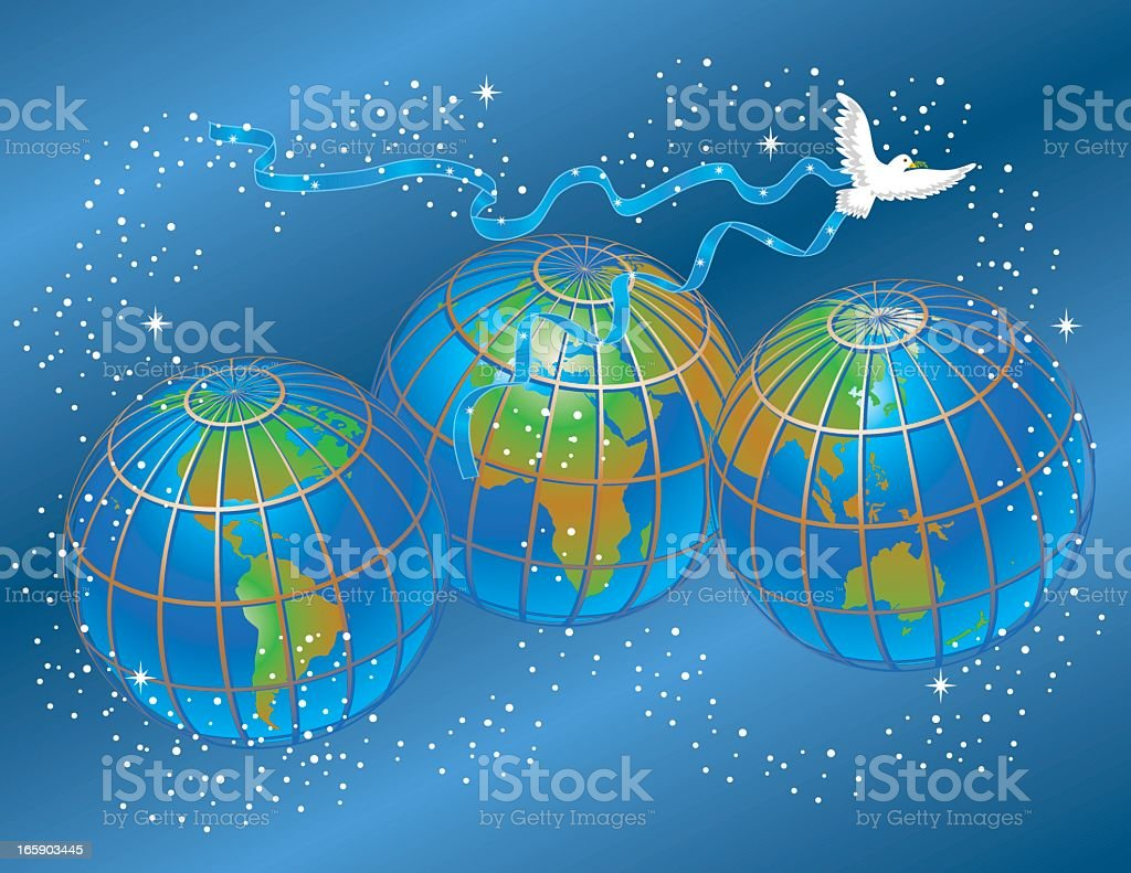 Earths and dove representing world peace royalty-free stock vector art