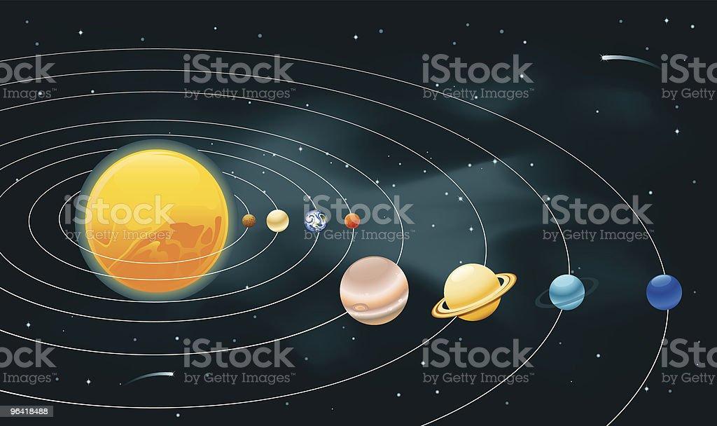 Earths Solar System vector art illustration