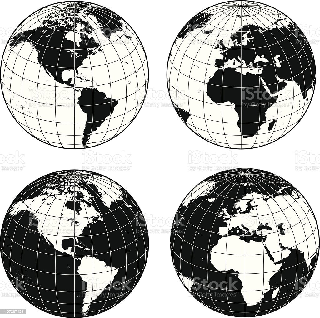 Earths with longitude and latitue grid lines vector art illustration