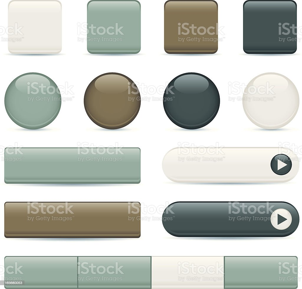 Earth-tone Buttons and Icons royalty-free stock vector art