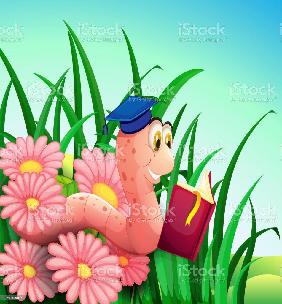 Earthworm reading a book at the garden royalty-free stock vector art
