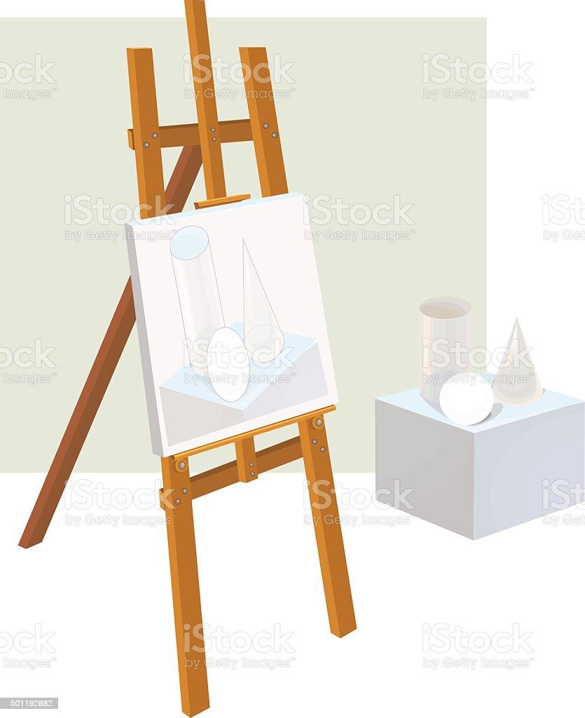 Easel and basic geometric shapes vector art illustration