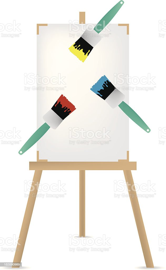 Easel and paint brush illustration royalty-free stock vector art