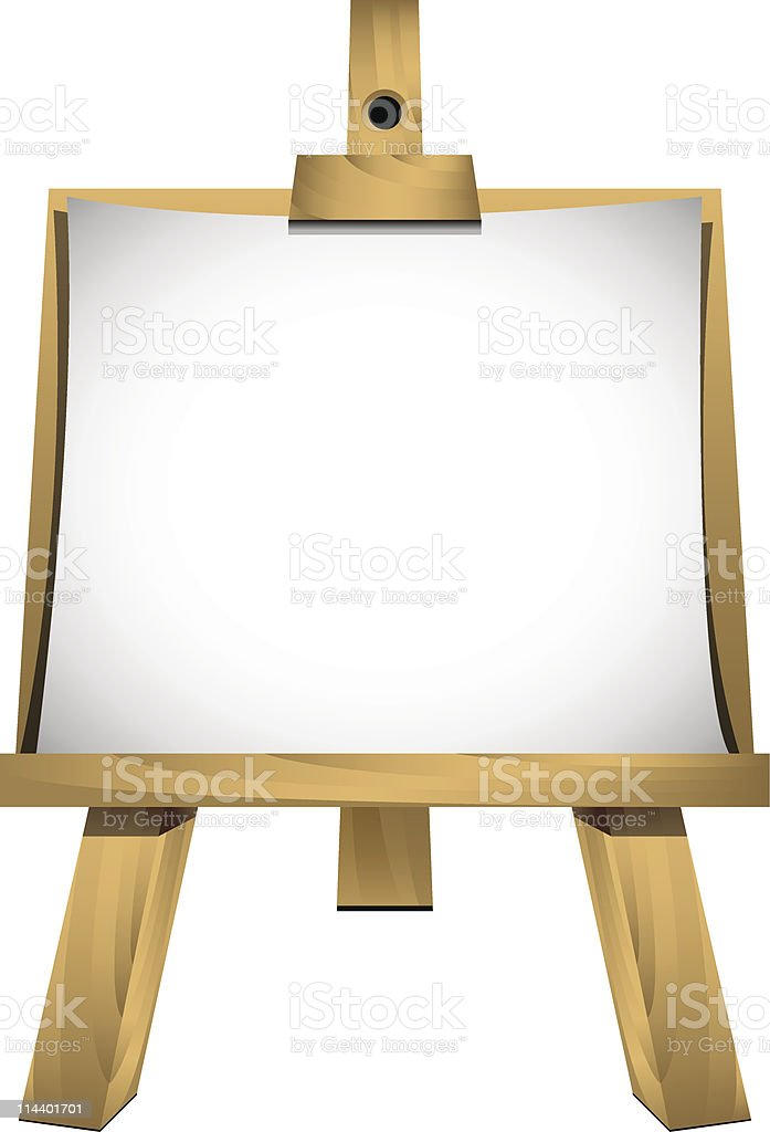 Easel with a blank sheet of white paper royalty-free stock vector art