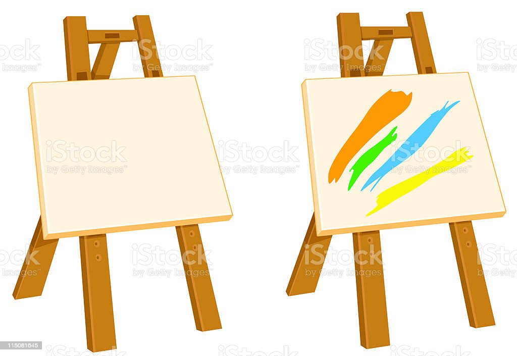 Easel with art and canvas. royalty-free stock vector art