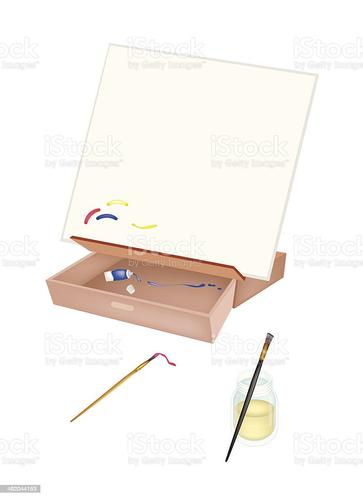 Easel with Artist Brushes and Paint Tubes vector art illustration