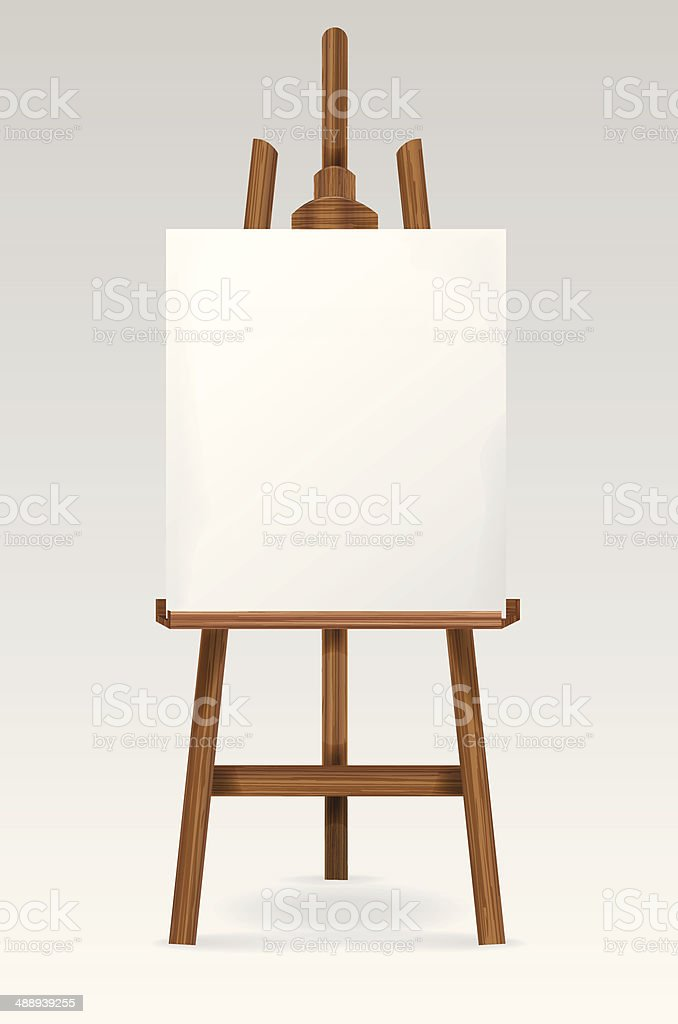 Easel with blank canvas vector art illustration