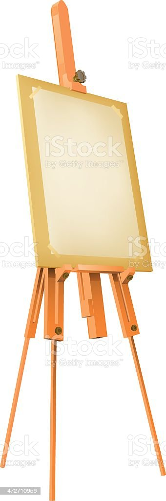 Easel with paper vector art illustration