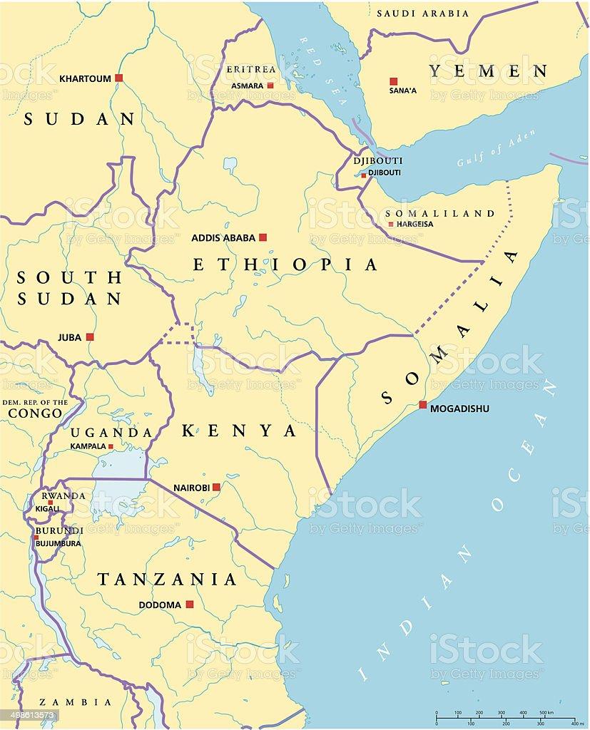 East Africa Political Map vector art illustration