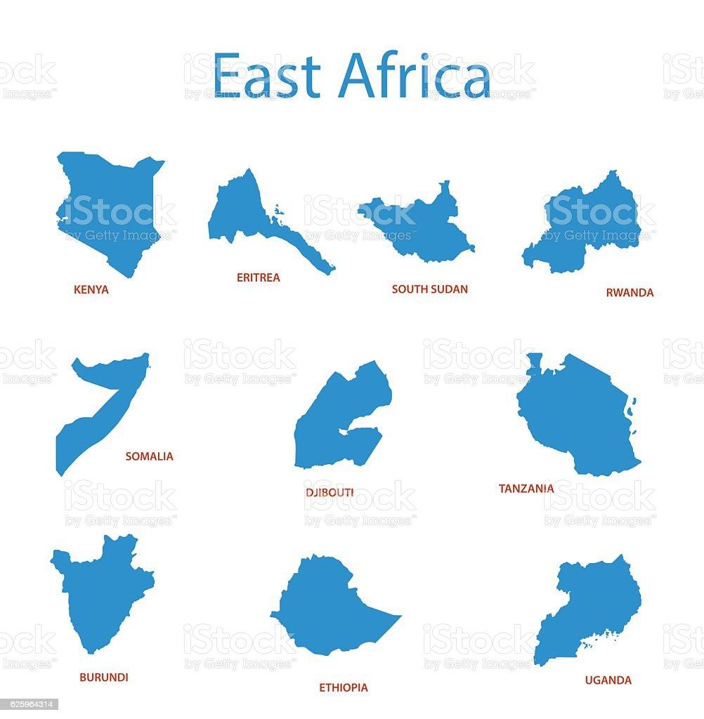 east africa - vector maps of territories vector art illustration