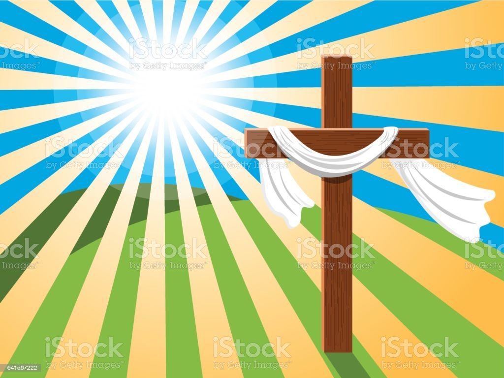 Easter background cross rays light vector art illustration