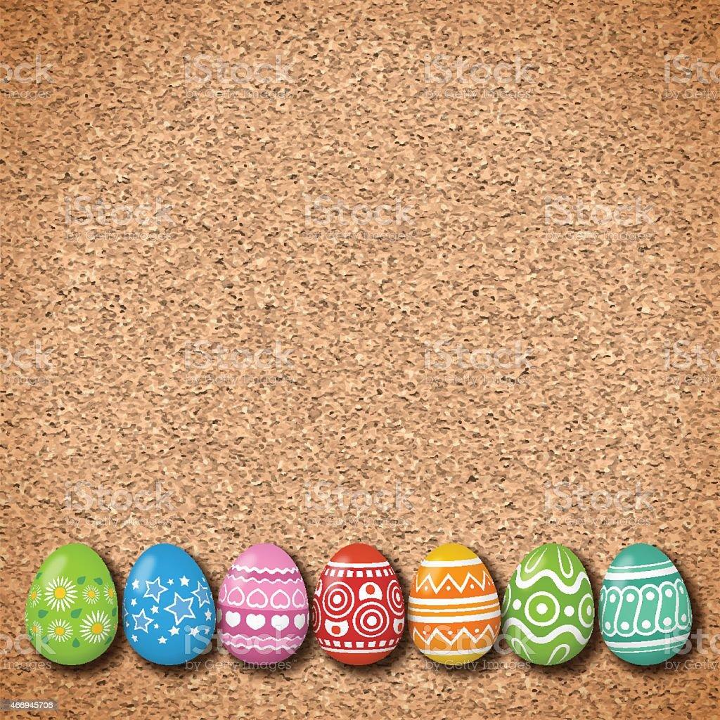 Easter background[Eggs on the cork board] vector art illustration
