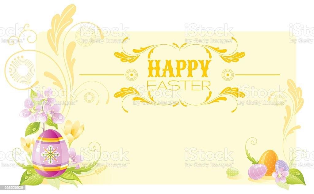 Easter banner. Spring border, cherry blossom, egg, flower. Vector illustration vector art illustration