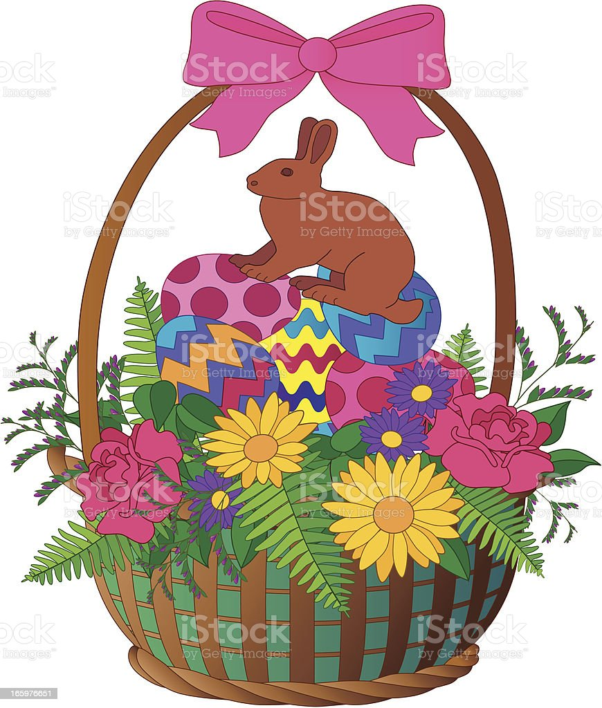 Easter basket and chocolate bunny royalty-free stock vector art