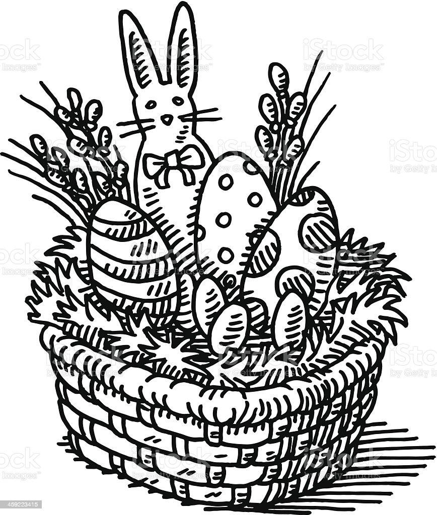 Easter Basket Drawing vector art illustration