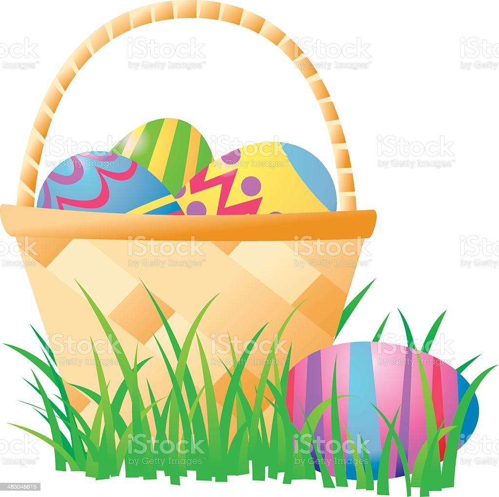 Easter Basket vector art illustration
