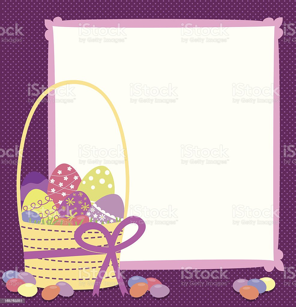 Easter basket with eggs and jellybeans royalty-free stock vector art