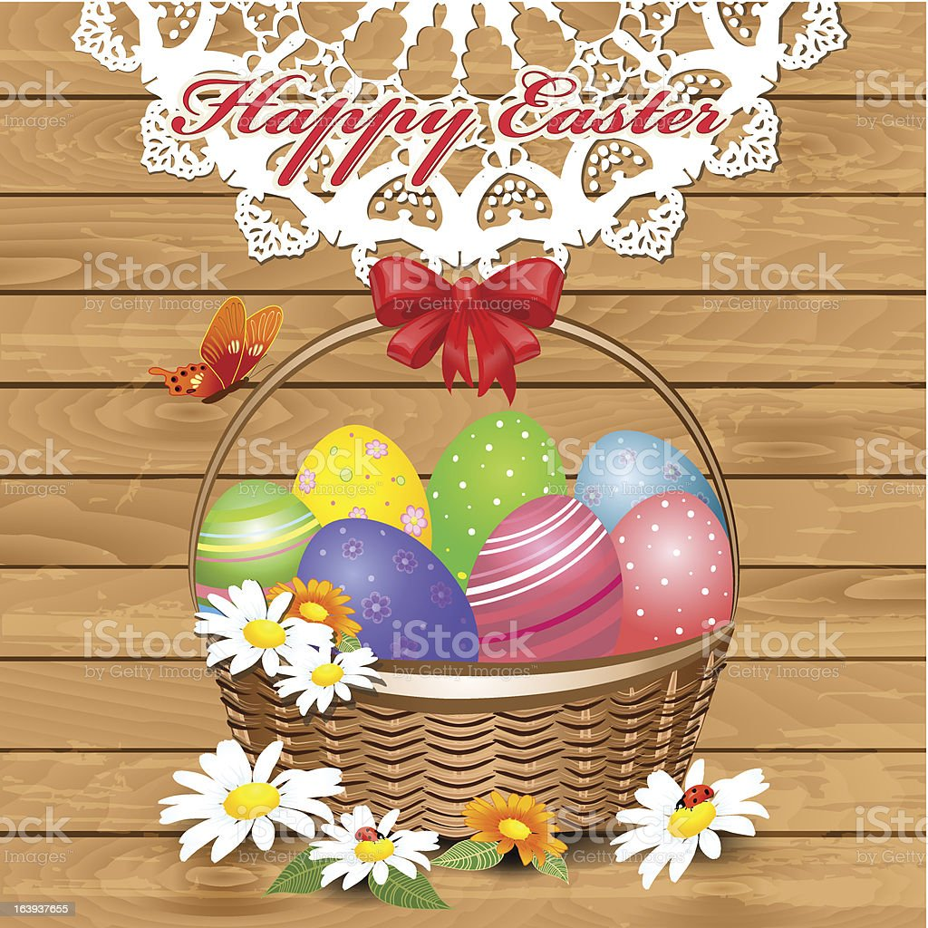 Easter basket with eggs royalty-free stock vector art