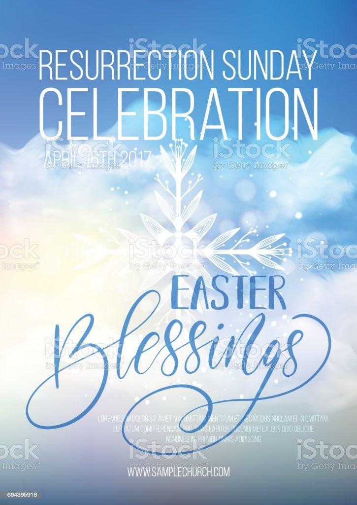 Easter Blessings, vector Easter religious poster template vector art illustration