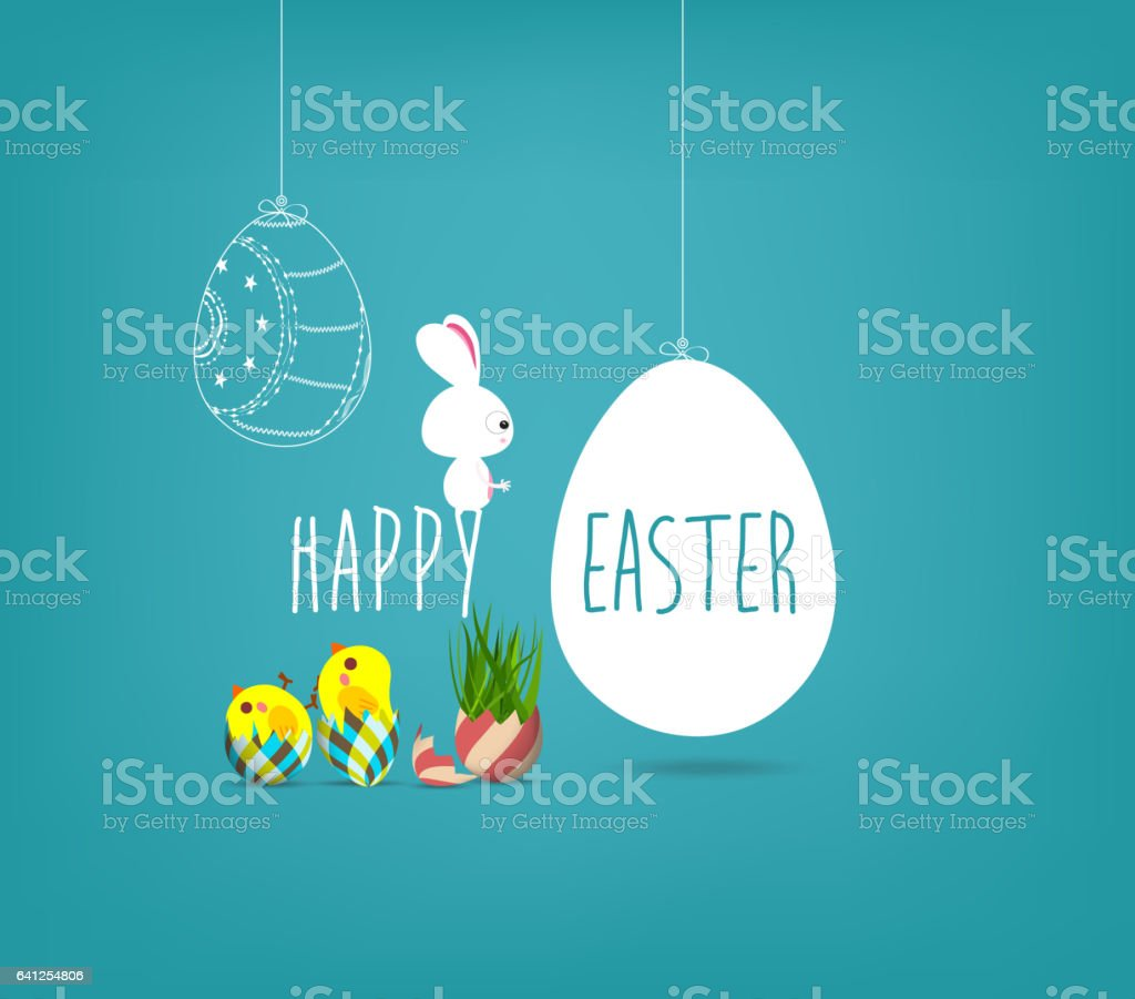 Easter blue poster with chicken and handwritten text vector art illustration