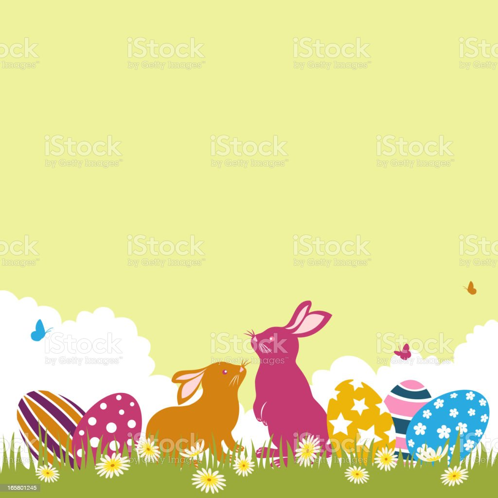 Easter Bunnies and Eggs vector art illustration